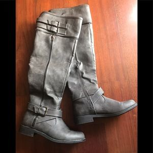 Grey over the knee boots